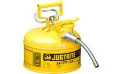 Justrite AccuFlow - Model 7210220 - Type II Steel Safety Can for Flammables 1 Gallon (Yellow with 5/8 Hose)