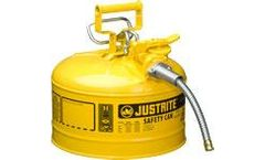 Justrite AccuFlow - Model 7225220 - Type II Steel Safety Can for Flammables 2.5 Gallon (Yellow with 5/8 Metal Hose)