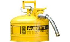 Justrite AccuFlow - Model 7225230 - Type II Steel Safety Can for Flammables 2.5 Gallon (Yellow with 1 Metal Hose)
