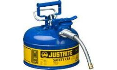 Justrite AccuFlow - Model 7210320 - Type II Steel Safety Can for Flammables 1 Gallon (Blue with 5/8 Hose)