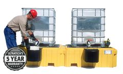 UltraTech - Model UT-1145 - Twin IBC Spill Pallet w/1 Right Side Bucket Shelf - With Drain