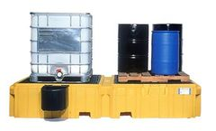 UltraTech - Model UT-1146 - Ultra Twin IBC Spill Pallet with Left Side Bucket Shelf - with Drain