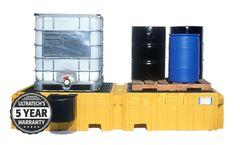 UltraTech - Model UT-1146 - Ultra Twin IBC Spill Pallet with Left Side Bucket Shelf - with Drain