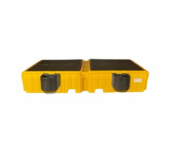 Twin IBC Spill Pallet with 2 Bucket Shelves - No Drain-1