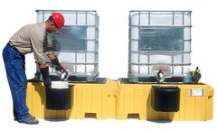 UltraTech - Model 1147 - Twin IBC Spill Pallet with 2 Bucket Shelves - with Drain