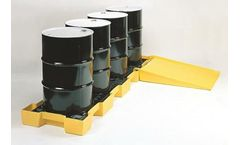 Eagle - Model 1647D - Spill Containment Pallet - Inline - 4 Drum - With Drain