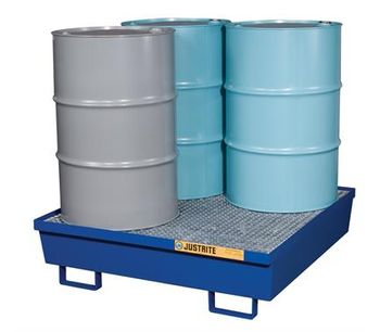 Justrite - Model 28614 - Spill Containment Pallet 4 Drum Square Blue Steel