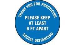 Slip-Gard - Floor Sign Please Keep At Least 6 FT Apart - 17 - Blue Background