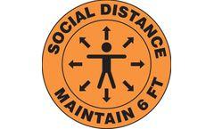 Slip-Gard - Floor Sign: Social Distance Maintain 6 FT - 12