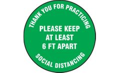 Slip-Gard - Floor Sign Please Keep At Least 6 FT Apart - 12 - Green Background