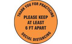 Slip-Gard - Floor Sign Please Keep At Least 6 FT Apart - 12 - Orange Background
