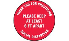 Slip-Gard Floor Sign Please Keep At Least 6 FT Apart - 12 - Red Background