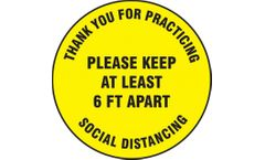 Slip-Gard Floor Sign Please Keep At Least 6 FT Apart - 12 - Yellow Background