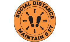 Slip-Gard Floor Sign: Social Distance Maintain 6 FT - 12 - Footprint