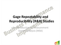 Gage Repeatability and Reproducibility (R&R) Course Brochure