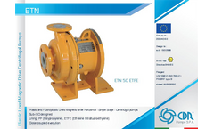 Model ETN - Plastic and Fluoroplastic Lined Magnetic Drive Horizontal Process Centrifugal Pumps Brochure