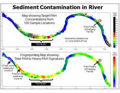 PAH fingerprinting map showing crude oil in river sediment