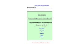 ISO 14001:2015 - Environmental Management Systems Documentation - Brochure