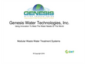 GWT Modular Waste Water Treatment Systems - Brochure