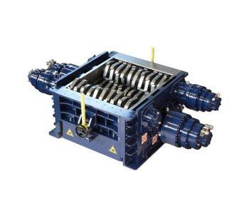 SatrindTech - Model 4R10/150 - 4R13/150 - 4R15/400 - 4R20/400 - 4 Shaft Shredder Power 150 HP