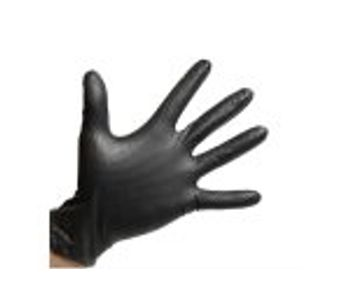 Powder Free - Textured Grip Large Black Nitrile Gloves