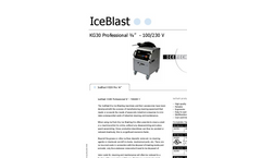 "IceBlast - Model KG30 Professional ¾"" - 110/230 V - Dry Ice Blasting Machine Specifications"