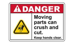 Graphic - Model SL3436-AC - Danger Moving Parts Keep Hands Clear Sign