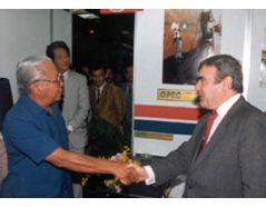 An exhibition in 1987, Jakarta, Indonesia. Meeting with the former Trade and Industry Minister.