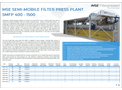 Product features MSE semi-mobile filter press plant