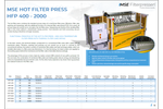 Product features MSE hot filter press - Brochure