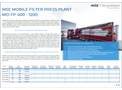 Product features MSE mobile filter press plant