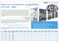 Product features of  MSE fully automatic filter press