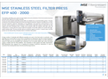 Product features MSE Stainless Steel filter press