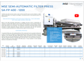 Product features MSE semi-automatic filter press