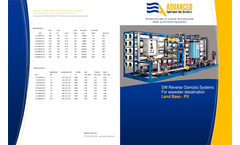 ADVANCEES - SWRO Range 15000 to 600000 GPD Desalination Land-Base-Pressure Exchanger - Datasheet