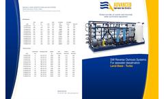 ADVANCEES - SWRO Range 15000 to 600000 GPD Desalination Land-Base-Turbo - Datasheet